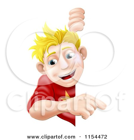 Cartoon of a Happy Blond Boy Peeking Around and Pointing at a Sign - Royalty Free Vector Illustration by AtStockIllustration