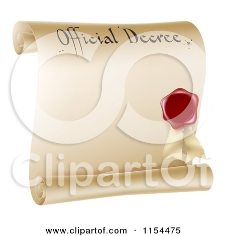 Clipart of a Paper Scroll Official Decree and Red Wax Seal with Copyspace - Royalty Free Vector Illustration by AtStockIllustration