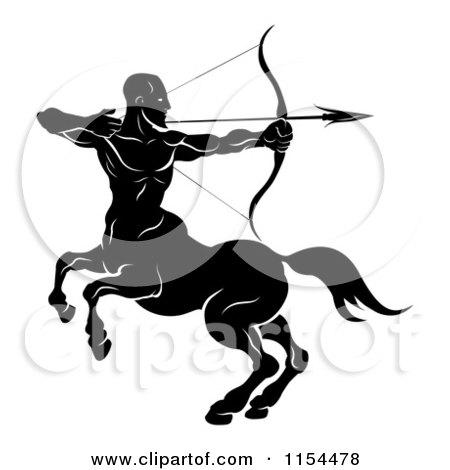 Clipart of a Black and White Horoscope Zodiac Astrology Sagittarius Centaur Archer - Royalty Free Vector Illustration by AtStockIllustration