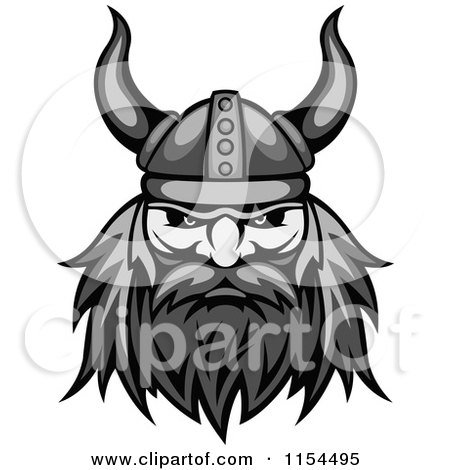 Clipart of an Aggressive Grayscale Viking Warrior Face 2 - Royalty Free Vector Illustration by Vector Tradition SM