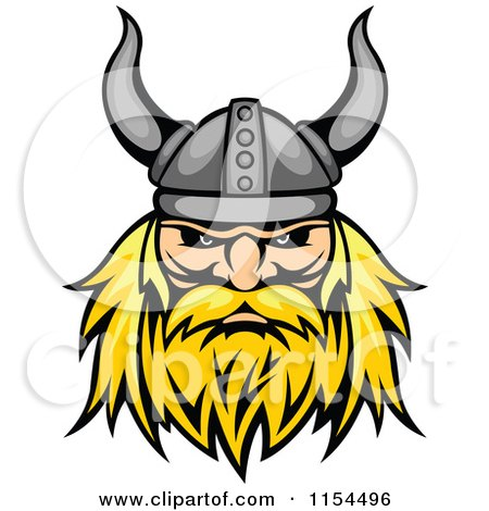 Clipart of an Aggressive Blond Viking Warrior Face - Royalty Free Vector Illustration by Vector Tradition SM