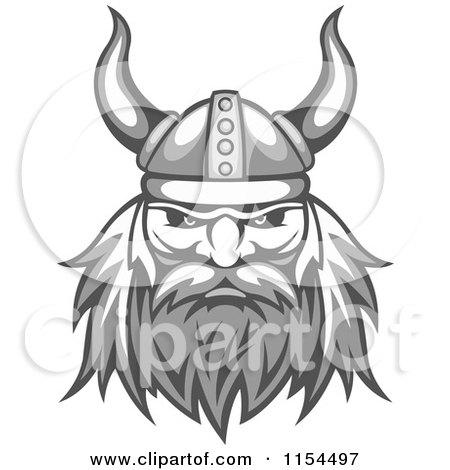 Clipart Of An Aggressive Grayscale Viking Warrior Face