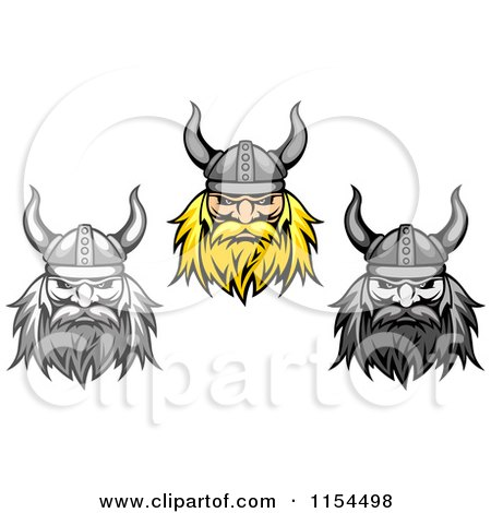 Clipart of Aggressive Blond and Grayscale Viking Warrior Faces - Royalty Free Vector Illustration by Vector Tradition SM