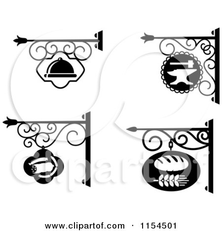 Clipart of Black and White Store Front Shingle Signs - Royalty Free Vector Illustration by Vector Tradition SM