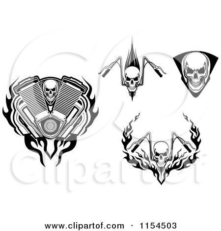 Clipart of Skulls and Motorcycle Handle Bars - Royalty Free Vector Illustration by Vector Tradition SM