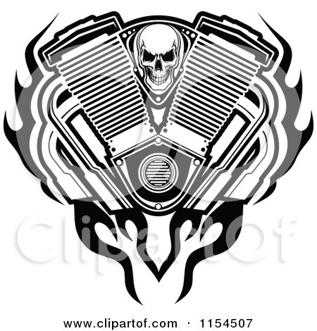 Clipart of a Black and White Skull with an Engine Flames and Mufflers - Royalty Free Vector Illustration by Vector Tradition SM