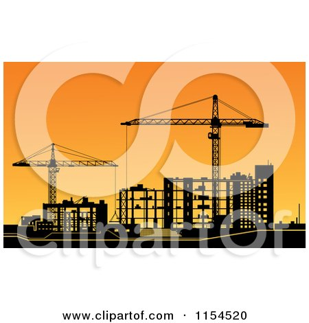 Clipart of a Construction Site with Frame Work and Cranes Silhouetted at Sunset - Royalty Free Vector Illustration by Vector Tradition SM