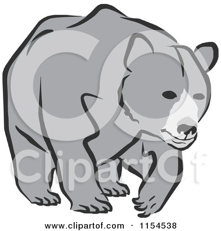 Clipart Of A Black And White Growling Bear Head In Profile