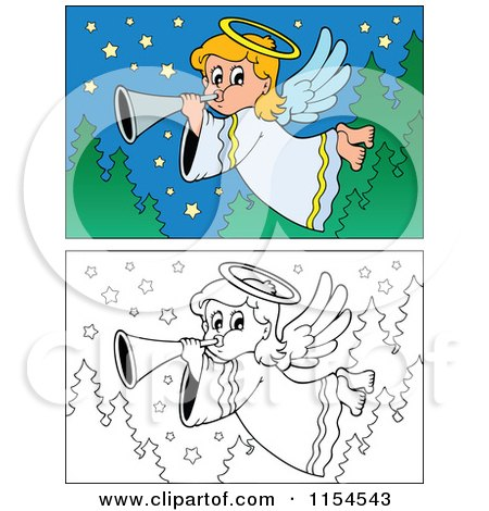 Cartoon of Colored and Outlined Angel Scenes - Royalty Free Vector Clipart by visekart