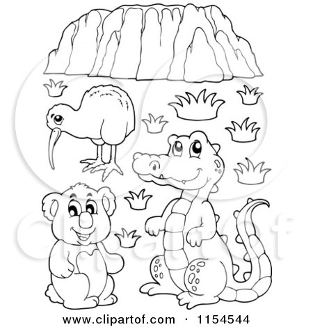 cartoon of an outlined kiwi kiwi bird coloring page