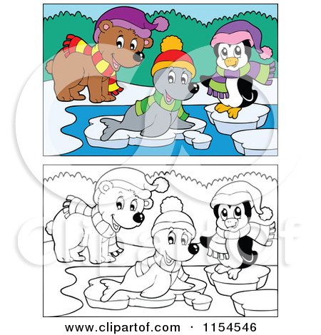 Cartoon of Outlined and Colored Bear Seal and Penguin on Ice - Royalty Free Vector Clipart by visekart