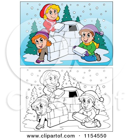 Cartoon of Outlined and Colored Kids Building an Igloo - Royalty Free Vector Clipart by visekart