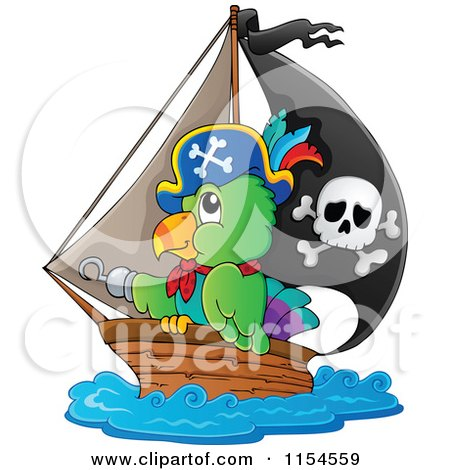 Cartoon of a Pirate Parrot in a Ship - Royalty Free Vector Clipart by visekart