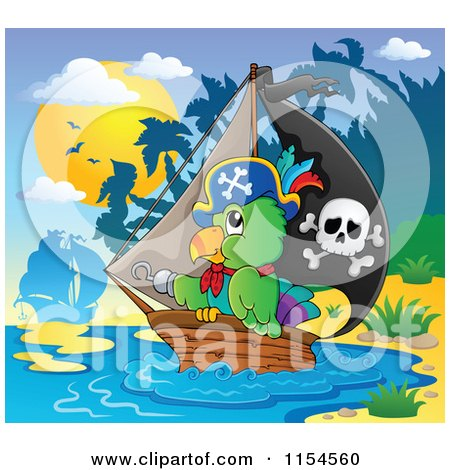 Cartoon of a Pirate Parrot and a Ship by an Island - Royalty Free Vector Clipart by visekart