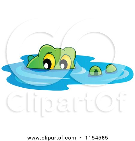 Cartoon of a Swimming Crocodile - Royalty Free Vector ...