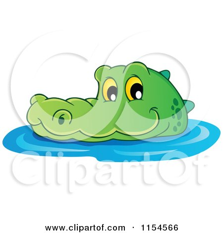 Cartoon of a Swimming Crocodile 2 - Royalty Free Vector Illustration by visekart