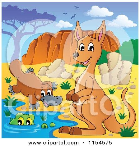 Cartoon of an Aussie Kangaroo Platypus and Crocodile by Uluru - Royalty Free Vector Clipart by visekart