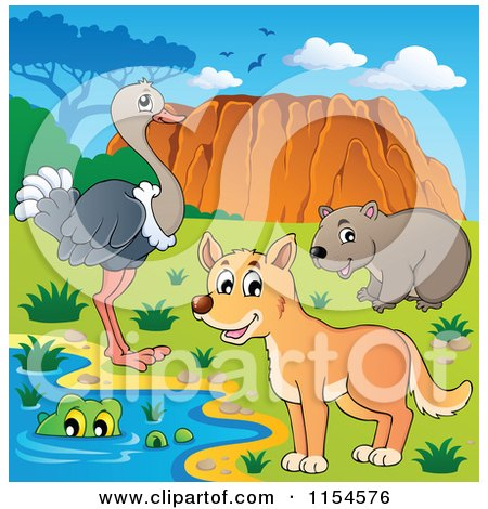 Cartoon of an Aussie Crocodile Dingo Wombat and Ostrich by Uluru - Royalty Free Vector Clipart by visekart