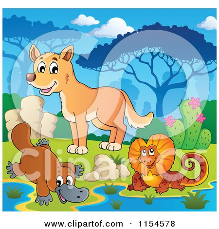 Cartoon of an Aussie Frilled Lizard Platypus and Dingo at a Watering Hole - Royalty Free Vector Clipart by visekart