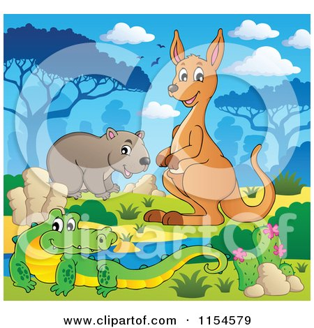 Cartoon of an Aussie Crocodile Wombat and Kangaroo by a Watering Hole - Royalty Free Vector Clipart by visekart