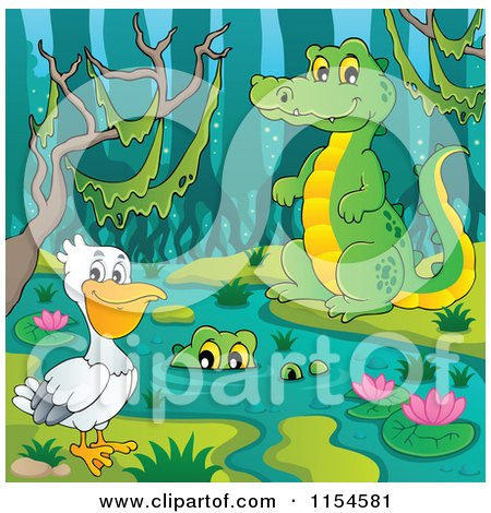 Cartoon of a Pelican and Crocodiles at a Swamp - Royalty Free Vector Clipart by visekart