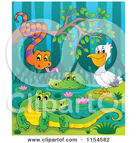 Cartoon of a Pelican Snake and Crocodiles at a Swamp - Royalty Free Vector Clipart by visekart