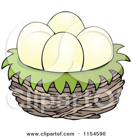 Cartoon of Eggs in a Bird Nest - Royalty Free Vector Clipart by visekart