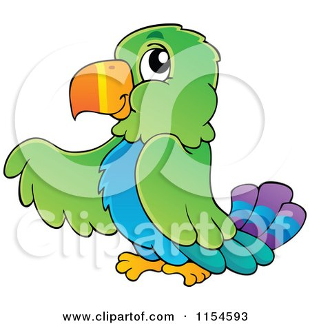 Cartoon of a Pointing Parrot - Royalty Free Vector Clipart by visekart