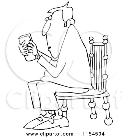 Cartoon of an Outlined Man Sitting in a Chair and Texting on a Phone - Royalty Free Vector Clipart by djart