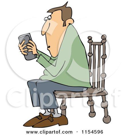 Cartoon of a Outlined Man Sitting in a Chair and Texting on a Phone - Royalty Free Vector Clipart by djart