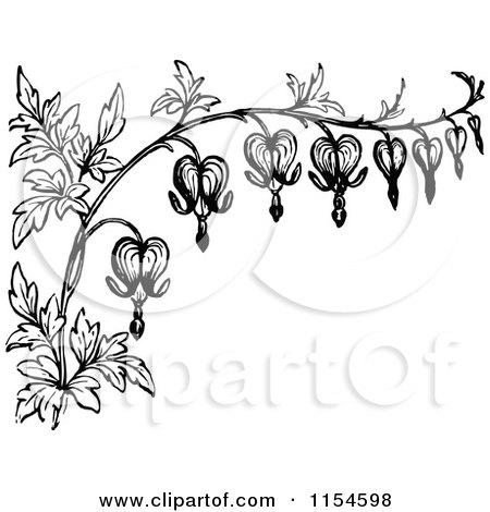 Clipart Of A Retro Vintage Black And White Border Bleeding Heart