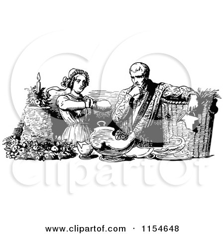 Clipart of a Retro Vintage Black and White Couple with a Broken Pot - Royalty Free Vector Clipart by Prawny Vintage