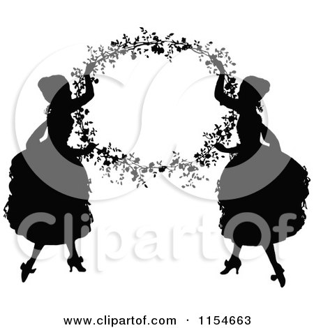Clipart of Retro Vintage Silhouetted Ladies Holding up a Floral Frame - Royalty Free Vector Clipart by Prawny Vintage