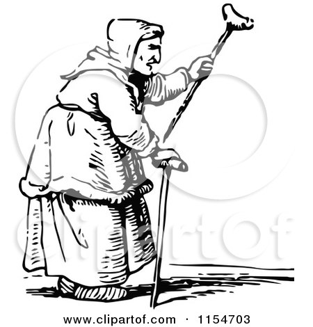 Clipart of a Retro Vintage Black and White Old Woman Waving a Cane - Royalty Free Vector Clipart by Prawny Vintage