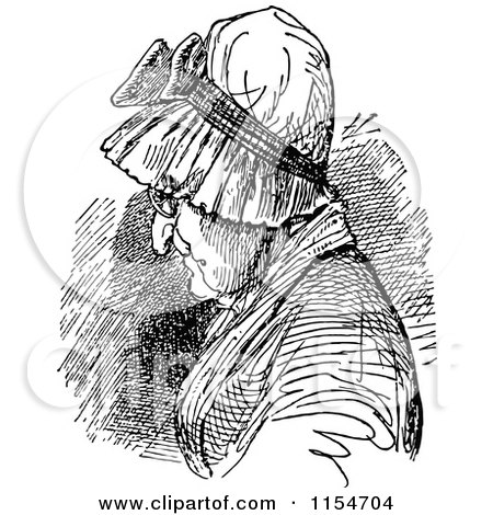 Clipart of a Retro Vintage Black and White Old Woman in a Bonnet - Royalty Free Vector Clipart by Prawny Vintage