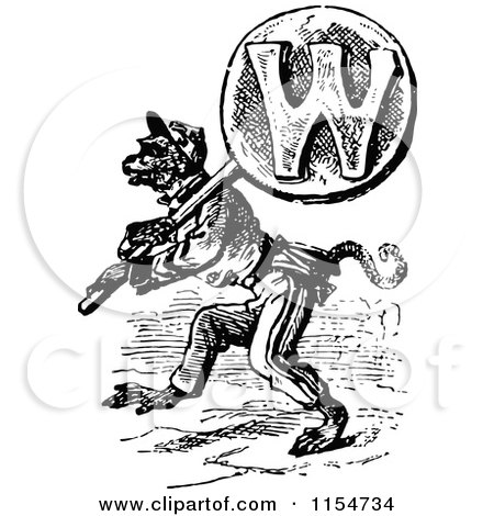 Clipart of a Retro Vintage Black and White Wolf Carrying the Letter W - Royalty Free Vector Clipart by Prawny Vintage