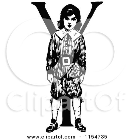 Clipart of a Retro Vintage Black and White Boy and Letter Y - Royalty Free Vector Clipart by Prawny Vintage