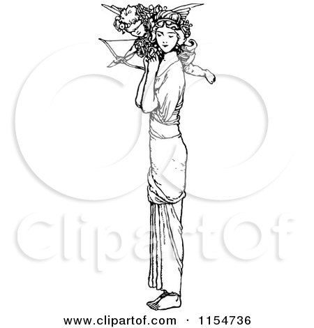 Clipart of a Retro Vintage Black and White Woman and Cupid - Royalty Free Vector Clipart by Prawny Vintage