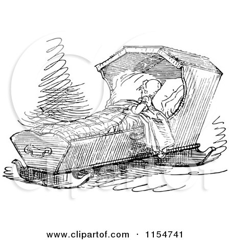 Clipart Of A Retro Vintage Black And White Baby Sleeping