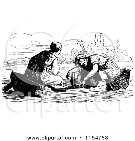 Clipart of a Retro Vintage Black and White Couple in a Boat - Royalty Free Vector Clipart by Prawny Vintage