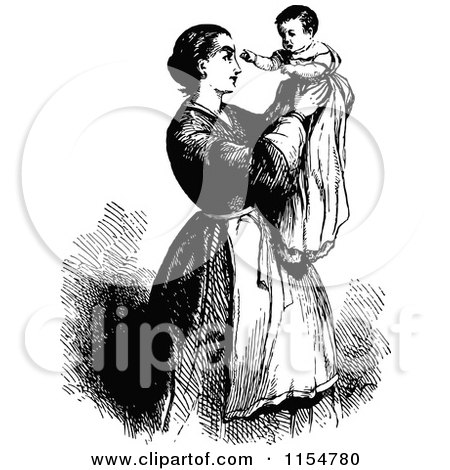 Clipart of a Retro Vintage Black and White Mother Holding up Her Baby - Royalty Free Vector Clipart by Prawny Vintage