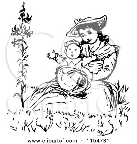 Clipart of a Retro Vintage Black and White Mother Holding Her Baby - Royalty Free Vector Clipart by Prawny Vintage