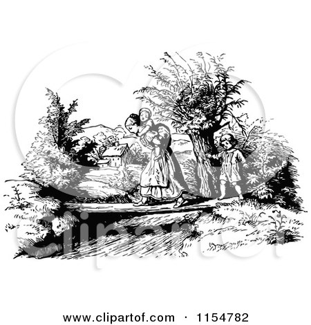 Clipart of a Retro Vintage Black and White Mother and Children Crossing a Creek - Royalty Free Vector Clipart by Prawny Vintage