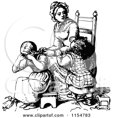 Clipart of a Retro Vintage Black and White Mother Braiding Her Daughters Hair - Royalty Free Vector Clipart by Prawny Vintage