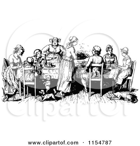 Retro Vintage Black And White Family At A Table