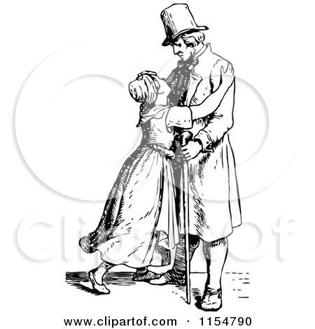 Clipart of a Retro Vintage Black and White Daugher Hugging Her Father - Royalty Free Vector Clipart by Prawny Vintage