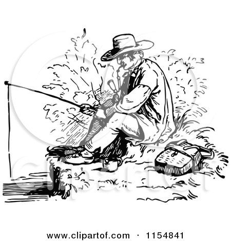 Man fishing clipart black and white