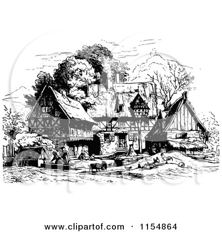 Clipart of a Retro Vintage Black and White Village