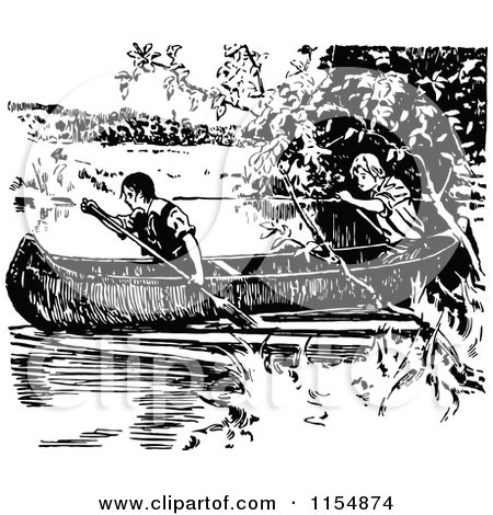 Clipart of Retro Vintage Black and White Boys in a Canoe - Royalty Free Vector Clipart by Prawny Vintage