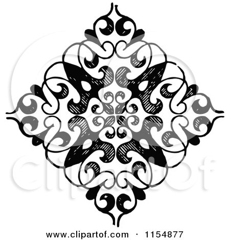 Clipart of a Retro Vintage Black and White Diamond Shaped Design Element - Royalty Free Vector Clipart by Prawny Vintage